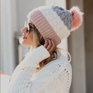NWT pink gray and cream pom beanie hat